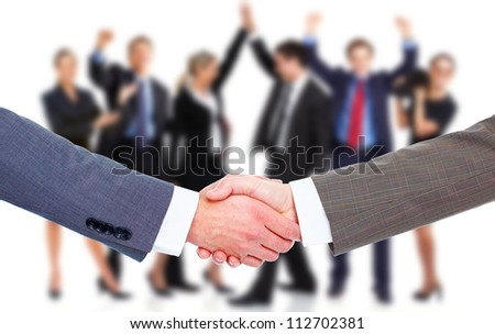 Handshake. Group of business people. Teamwork. - stock photo