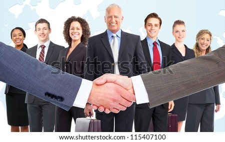 Handshake. Group of business people. Teamwork.