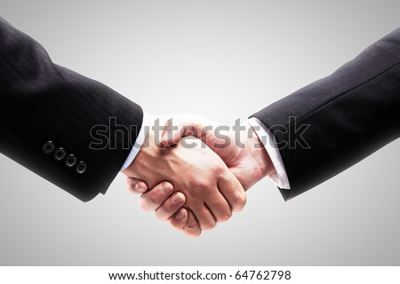 Handshake - Hand holding on white background