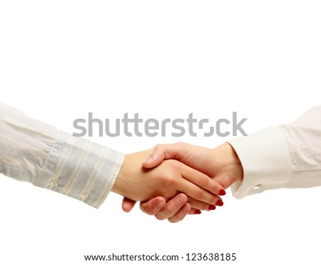 Handshake , isolated on white background - stock photo