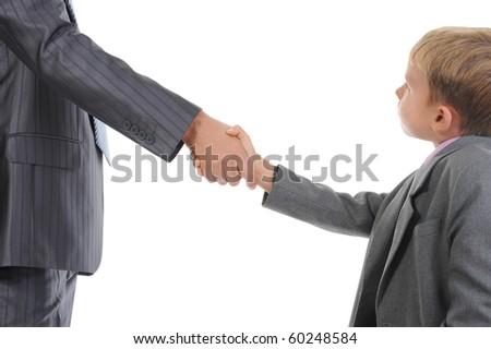 Handshake man and little boy. Isolated on white background - stock photo