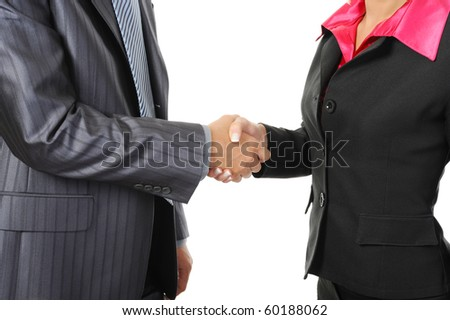 Handshake of business partners. Isolated on white background