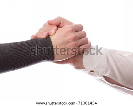Handshake of business partners, men and women. Isolated on white background