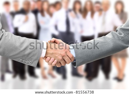 Handshake of businessman. Isolated over white background