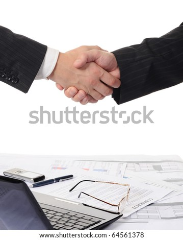 Handshake of two business partners