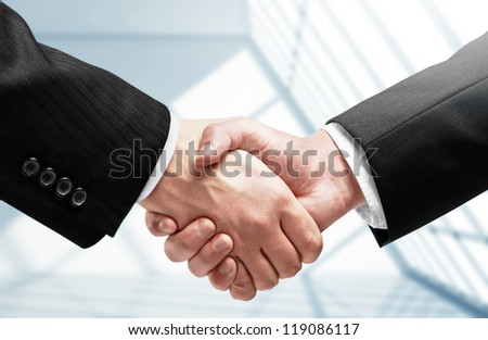 handshake on a room background