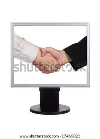 Handshake on computer screen isolated on white background