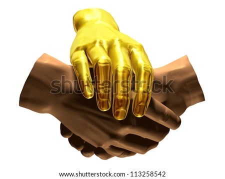 handshake protected by a golden hand