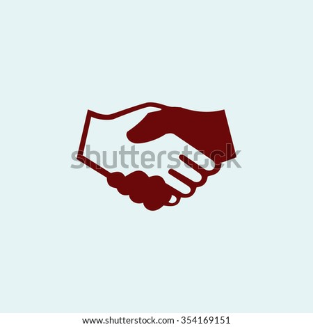 handshake Red flat icon. Simple illustration pictogram
