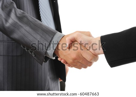 Handshake two business partners. Isolated on white background