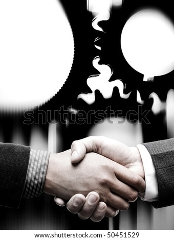 handshake with gears background