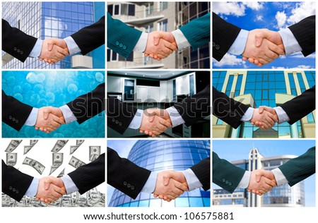 Handshake with modern skyscrapers as background. collection