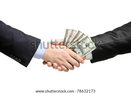 Handshake with money isolated on white background