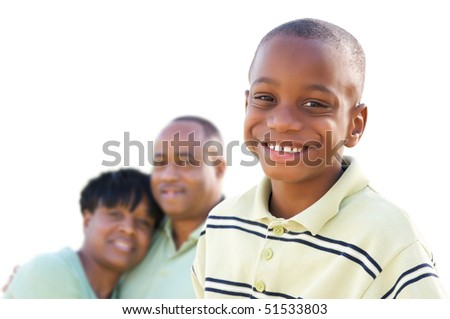 Handsome African American Boy with Parents Isolated on a White Background.