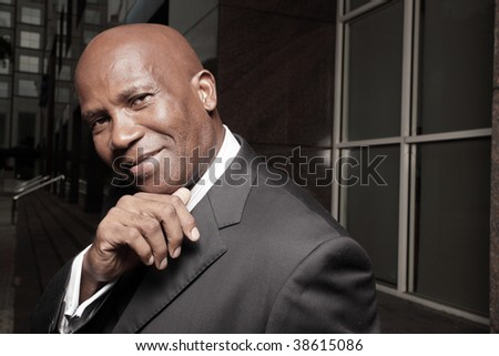 Handsome African American Businessman smiling