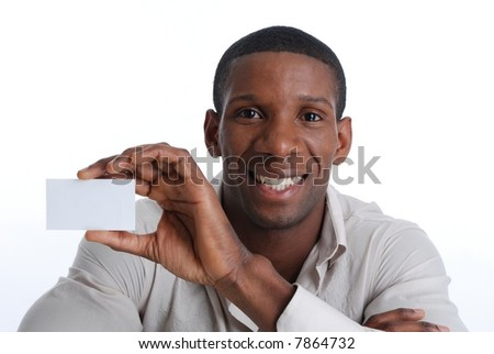 Handsome african American holding a blank business card