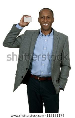 Handsome African American man holding up a business card