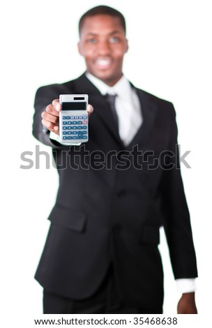 Handsome African businessman holding a calculator and looking at the camera