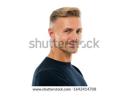 Handsome and attractive. Handsome man isolated on white. Caucasian guy with handsome unshaven face. Mens grooming. Hair and skin care. Haircare cosmetics. Skincare products. Handsome and well groomed.