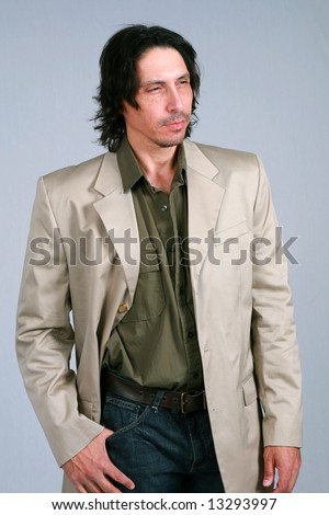 stock photo : handsome and rugged man in business casual attire