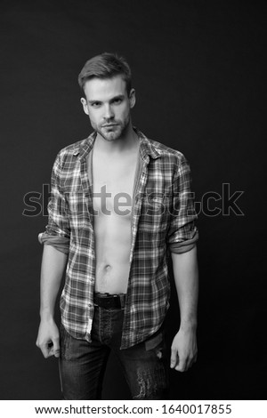 Handsome and sexy. Handsome man with bare torso dark background. Wellness and bodycare. Caucasian guy with handsome face. Male grooming. Handsome and well groomed.