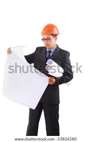 handsome architect. Isolated over white background