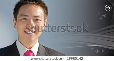 Handsome asian business man with a modern technology background
