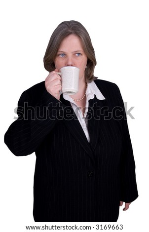 Handsome attractive businesswoman in suit drinking a cup of coffee on white background with clipping path.