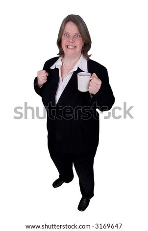 Handsome attractive businesswoman in suit with a cup of coffee in hand with a very alert expression on white background with clipping path.