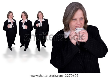 Handsome attractive businesswomen in suits with cups of coffee in hands led by a coffee drinker on white background
