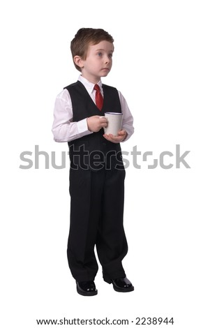 handsome attractive young boy dressed in suit with coffee in hand on white background.