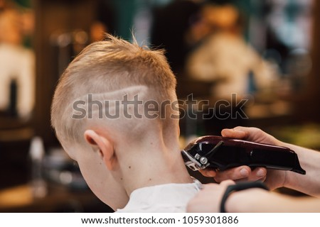 Handsome boy getting his hair and beard cut at barber shop, barber shop rear view