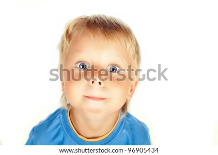 Handsome boy, 2-3 years old, making a funny face , feigning wide-open eyed surprise; isolated on white background
