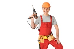 Handsome builder in uniform with tool belt holding drill isolated on white