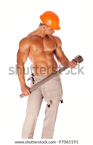 handsome builder with a sledgehammer and sexy body