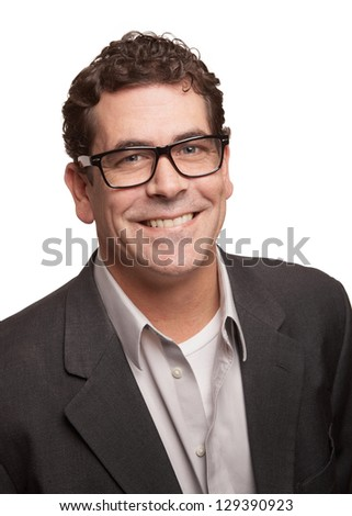 Handsome business man isolated on white background