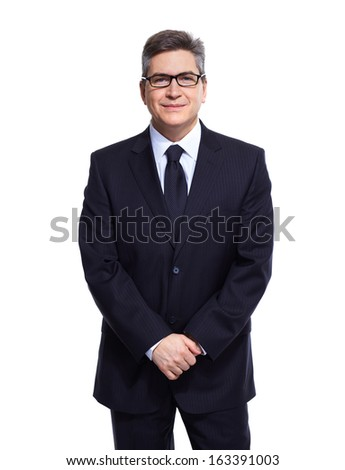 Handsome Business man isolated over white background.