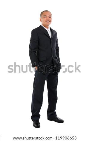 Handsome business man of Southeast Asian, full length portrait.