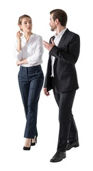Handsome businessman and attractive businesswoman in formal wear chating and walking, isolated on white background. Concept of success in career.