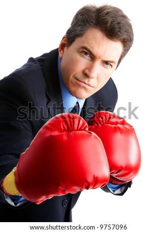Handsome businessman boxer.  Isolated over white background