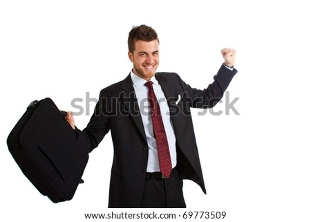 Handsome businessman celebrating happy news