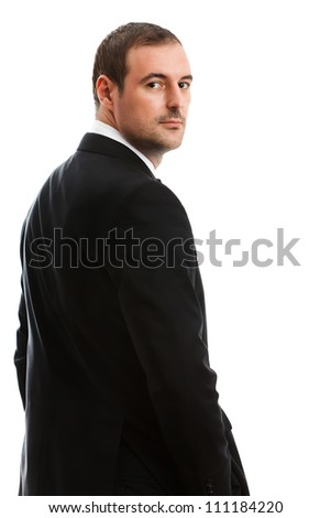 Handsome businessman in a classic suit. Studio shot.