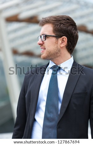 Handsome businessman in the city