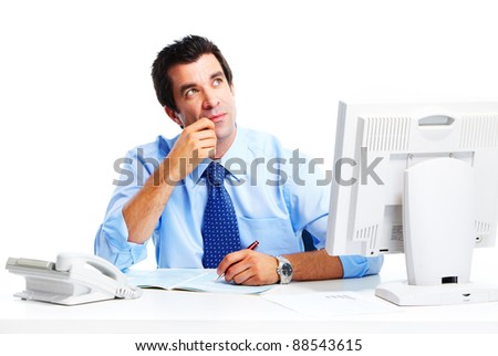 Handsome businessman. Isolated over white background.