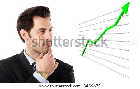Handsome Businessman shot in studio isolated on white watching a 3d graph- check my portfolio for similar photos