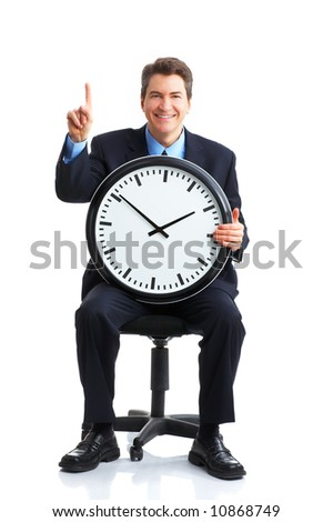 Handsome businessman with a clock. Over white
