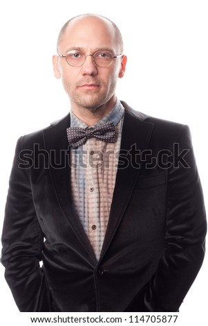 Handsome businessman with glasses. Isolated over white background.