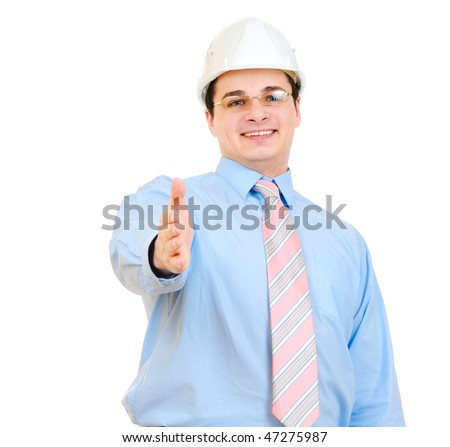 Handsome businessman with white hard hat saying welcome isolated on white background