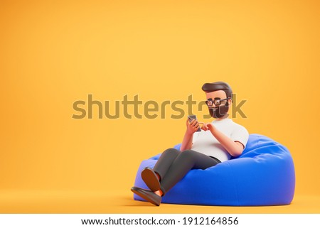 Handsome cartoon beard character man in white t-shirt relax at blue bean bag armchair  and use smartphone over yellow background. 3d render illustration.