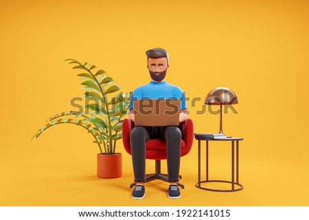 Handsome cartoon beard character man working with laptop at the red armchair over yellow background with plant and coffee table. Home office concept. 3d render illustration.